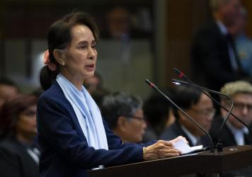 Aung San Suu Kyi, Myanmar's de facto leader, addresses the International Court of Justice during last month's hearings in The Hague, Netherlands. The court has announced that a decision in the case will be issued next week.