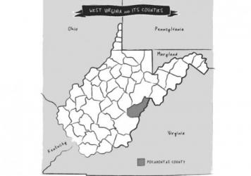 West Virginia and its counties. From <em>The Third Rainbow Girl,</em> by Emma Copley Eisenberg.