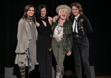 (L-R) Martina McBride, Leslie Fram, Tanya Tucker and Brandi Carlile seen onstage during the 2019 CMT Next Women Of Country in November 2019.