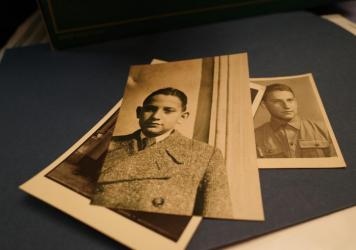 A photograph of Vladimir Munk, (center), taken in March 1938 before the Nazis invaded Czechoslovakia. After being imprisoned in concentration camps for years, Munk returned to his hometown of Pardubice, Czechoslovakia in May 1945 (right).
