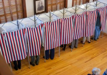 Voters cast their ballots in Sutton, New Hampshire on Nov. 8, 2016. State officials say the state's old-school paper ballots mean its election systems are more secure than in other states.