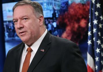 Secretary of State Mike Pompeo speaks to the media in the briefing room at the State Department on November 26, 2019 in Washington, D.C.