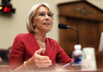 Education Secretary Betsy DeVos testifies on Capitol Hill in Washington, D.C., in December.