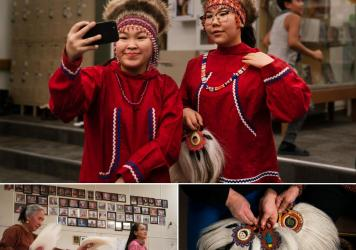 Top: Keziah Therchik (left) and Angel Charles take a selfie before performing Yup'ik dancing in Toksook Bay. Left: Dora Nicholai (in pink) dances at a community center, where portraits of the community's elders hang on a wall. Right: Women show Yup'ik da