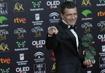 Spanish actor Antonio Banderas is photographed after winning the best leading actor award for <em>Pain and Glory</em> at the Spanish Film Academy's Goya Awards in Málaga, Spain, on Jan. 26.