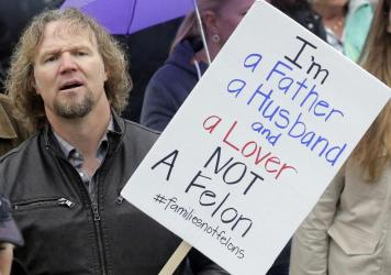 Kody Brown, pictured in Feb. 2017, protested Utah's felony laws against polygamy. Brown and his three wives star in the TV show <em>Sister Wives. </em>