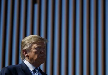 President Trump tours a section of the southern border wall in 2019, in Otay Mesa, Calif.