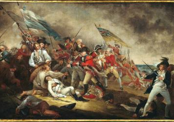 John Trumbull's painting <em>The Death of General Warren at the Battle of Bunker Hill</em>. Peter Salem is thought to be the figure in the lower right.
