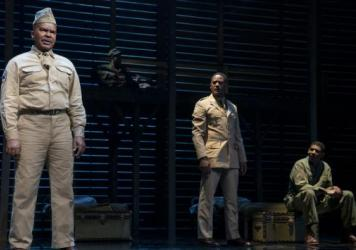 David Alan Grier as Sergeant Vernon C. Waters, Blair Underwood as Captain Richard Davenport and Billy Eugene Jones as Private James Wilkie in <em>A Soldier's Play.</em>