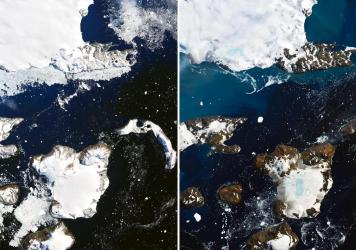 Satellite images show the effects of a prolonged warm spell on Eagle Island, in the far north of the Antarctic Peninsula, NASA says. An inch of snowpack melted in just one day, the agency says. The blue areas in snow on the right are ponds of melted wate