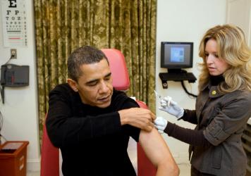 During the H1N1 swine flu pandemic, then President Barack Obama was vaccinated by a White House nurse. It took a little more than five months from the discovery of the virus to develop a vaccine.