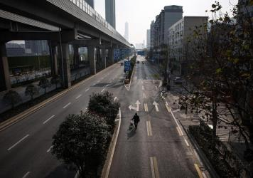The government lockdown orders in Wuhan, China, have emptied the city's streets.