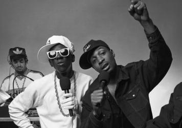 Flavor Flav, left, and Chuck D, photographed on May 1, 1987.