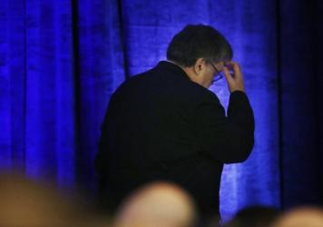 Attorney General William Barr leaves after a speech to an International Association of Chiefs of Police symposium in February in Miami.