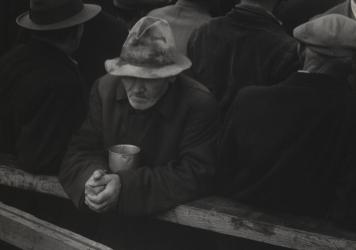 Dorothea Lange, <em>White Angel Bread Line, San Francisco</em> (1933). Sarah Meister, MoMA's photography curator, sees new resonance in Lange's photographs of aid lines like this one, which stood nearby Lange's studio in Northern California.