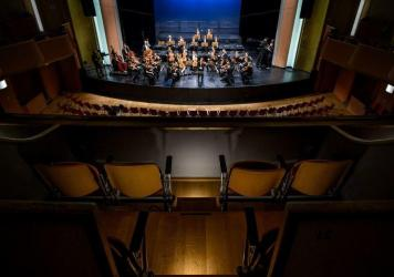 Due to coronavirus fears, violinist Renaud Capuçon and the Lausanne Chamber Orchestra play for an empty hall in Lausanne, Switzerland on March 4. (The concert was broadcast by Swiss public media.)