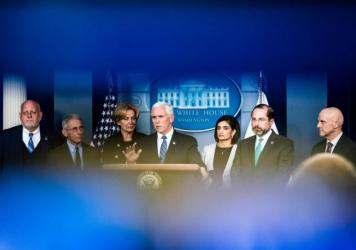 Vice President Mike Pence leads a press briefing along with members of the Coronavirus Task Force formed by the White House in response to the outbreak.