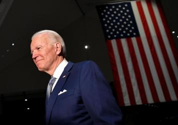 Democratic presidential hopeful former Vice President Joe Biden spoke at the National Constitution Center in Philadelphia Tuesday night.