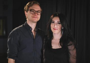Aubrie Sellers (left) with guitarist Ethan Ballinger (right) inside the World Cafe Performance Studio.