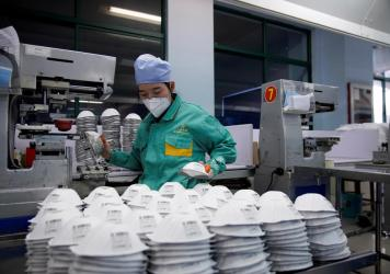 A production line for the manufacture of masks at a factory in Shanghai, China.