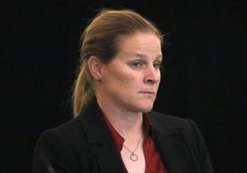 Cindy Parlow Cone, the new president of the U.S. Soccer Federation, attends a meeting of the organization's board of directors in December.