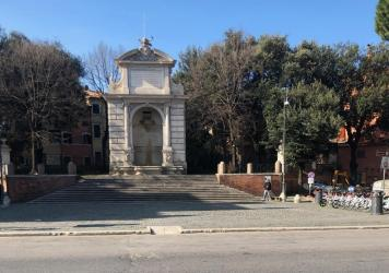 In normal times the pubs and cafes of Piazza Trilussa are the heart of Roman nightlife. Now all is shuttered; the rental bike stand is full and the only sound is the waterfall in the fountain.