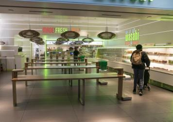 Food businesses are being urged to serve only take-out orders to reduce the spread of the novel coronavirus. Photo taken at the Wasabi Store in Penn Station in New York, Monday, March 16th, 2020.