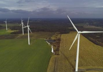 Clean energy advocates say economic disruption over the Covid-19 pandemic threatens tens of thousands of jobs and billions of dollars of investment in wind and solar. Above, wind turbines in Warsaw, N.Y.