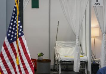 An improvised hospital room at the Jacob K. Javits Convention Center, which is being turned into a hospital to help fight coronavirus cases in New York City.