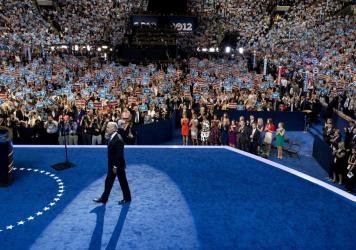 """Joe Biden takes the stage at the Democratic National Convention in 2012. He said it's """"hard to envision"""" a similar scene this year."""