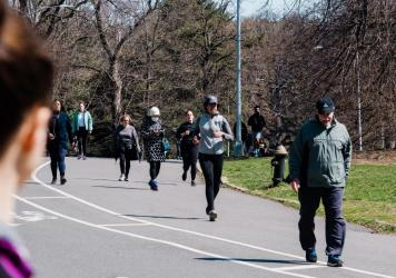 People walk and jog through Prospect Park in Brooklyn last week. New York Gov. Andrew Cuomo said that the restrictions on daily life in New York have slowed the increase in hospitalizations.