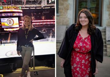 Left: Allie Clancy could not finish her dream internship at Boston's TD Garden arena. (Jonas Spencer/Courtesy of Allie Clancy); Right: Brittany Weaver is about to graduate from College of the Ozarks in Missouri. (Kressa Phillips/Courtesy of Brittany Weav
