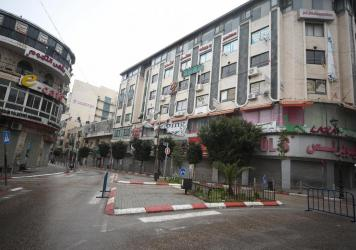 A street is seen empty during a lockdown due to the COVID-19 pandemic in Ramallah, West Bank on April 1.