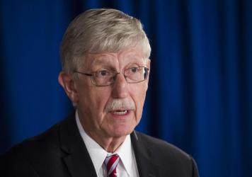 National Institutes of Health Director Dr. Francis Collins speak during a news conference in 2017.