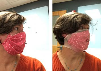 Researcher Loretta Fernandez of Northeastern University wears a homemade face mask without and with an extra outer layer made from nylon stockings (right). The added nylon outer layer significantly boosted masks' ability to filter out small particles, he