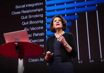 Susan Pinker on the TED Stage.