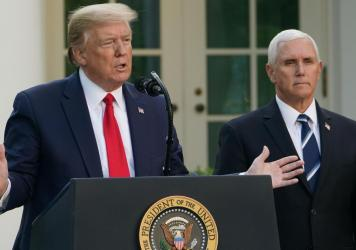 While President Trump takes questions, boasts, and often goes on tangents during task force briefings, Vice President Mike Pence stands aside, keeping his composure.