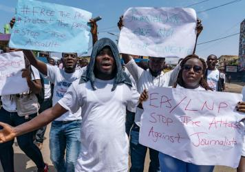 Journalists protest against what they say has been a pattern of using excessive force against them by the police and members of the government's security forces in Monrovia, Liberia, in March. Findings from a survey by Afrobarometer show that in Liberia,