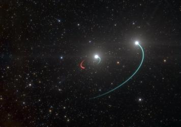 Scientists with the European Southern Observatory say system HR 6819, seen in this artist's rendering, is composed primarily of two stars (orbits in blue) and a newly discovered black hole (orbit in red). The black hole is invisible, but it makes its pre