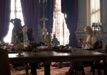 Huzzah? Emperor Peter of Russia (Nicholas Hoult) and a disillusioned Catherine of Prussia (Elle Fanning) enter into a not-great marriage in Hulu's <em>The Great.</em>