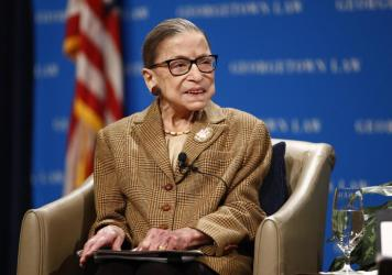 Supreme Court Justice Ruth Bader Ginsburg, seen in February, has been released from the hospital after treatment for a gallbladder condition.