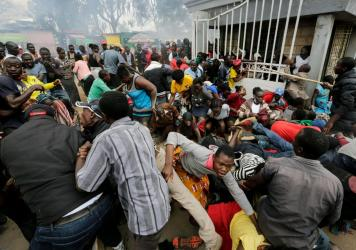 At a distribution of donated food in the Kibera community in Nairobi, there was a stampede as residents rushed for the limited supplies, with several injuries resulting.