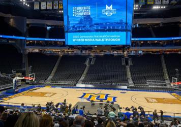 A mostly-empty Fiserv Forum is seen during a Democratic National Convention media tour in January. The Milwaukee arena may not fill up like a traditional political convention if public health guidelines prohibit large gatherings when the DNC takes place