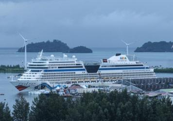 A cruise ship docks in Mahé island, the largest island in the Seychelles, on Nov. 18, 2019.