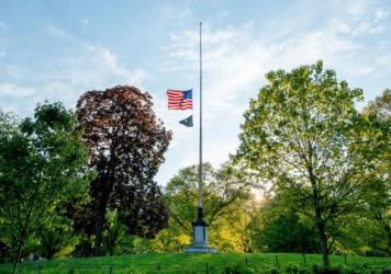 U.S. flags will fly at half-staff on federal and military posts through Sunday as President Trump orders a remembrance of the nearly 100,000 people who have died from COVID-19 in the U.S. Earlier this month, flags in the hard-hit state of New York flew a