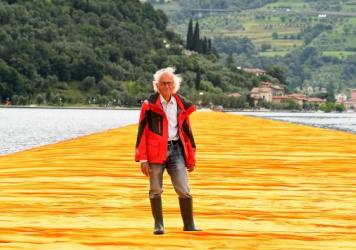 Artist Christo Vladimirov Javacheff attends the presentation of his installation <em>The Floating Piers</em> on June 16, 2016, in Sulzano, Italy. He died Sunday at age 84.