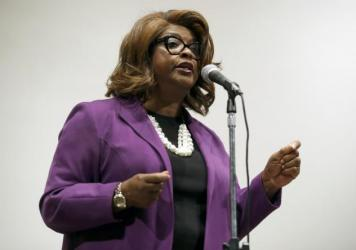 Councilwoman Ella Jones will become the first African American and first woman to serve as mayor of Ferguson. Here she's seen speaking at a mayoral forum in the city in 2017.