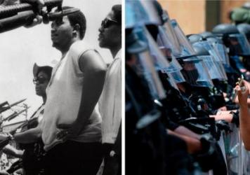 LEFT: Leaders of a march of about 255 people stare at police officers who stopped the group from marching on city hall in Pritchard, Ala, on June 12, 1968. RIGHT: A protester shows a picture of George Floyd from her phone to a wall of security guards nea