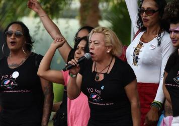 """Bamby Salcedo, here speaking at a 2017 rally, is president and CEO of the TransLatin@ Coalition, one of the plaintiffs in a lawsuit filed to keep Obama-era civil rights protections in place. """"Everyone deserves easy access to health care,"""" Salcedo says, """""""