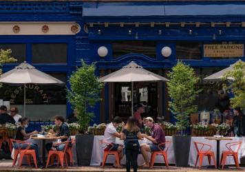 Restaurants in New Jersey, like this one in Hoboken, can open for outdoor dining. Indoor service was tentatively set to resume on July 2, but Gov. Phil Murphy announced it will be delayed indefinitely due to public health concerns.